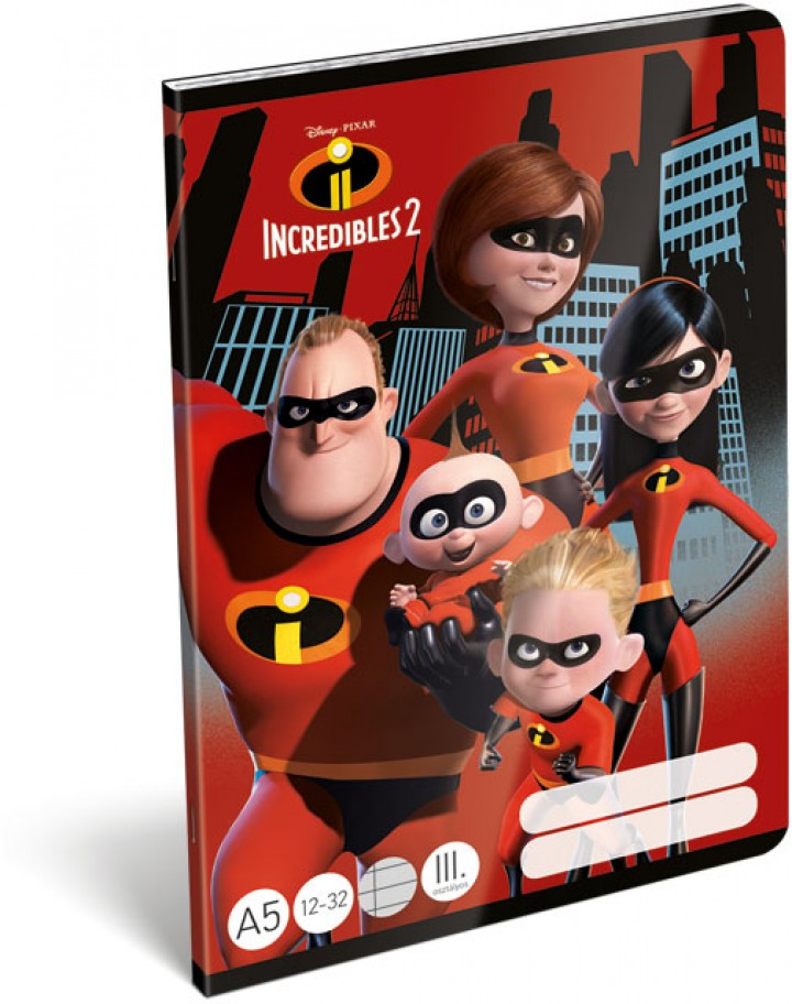 Füzet tűzött A/5 3.o., The Incredibles 2, Family