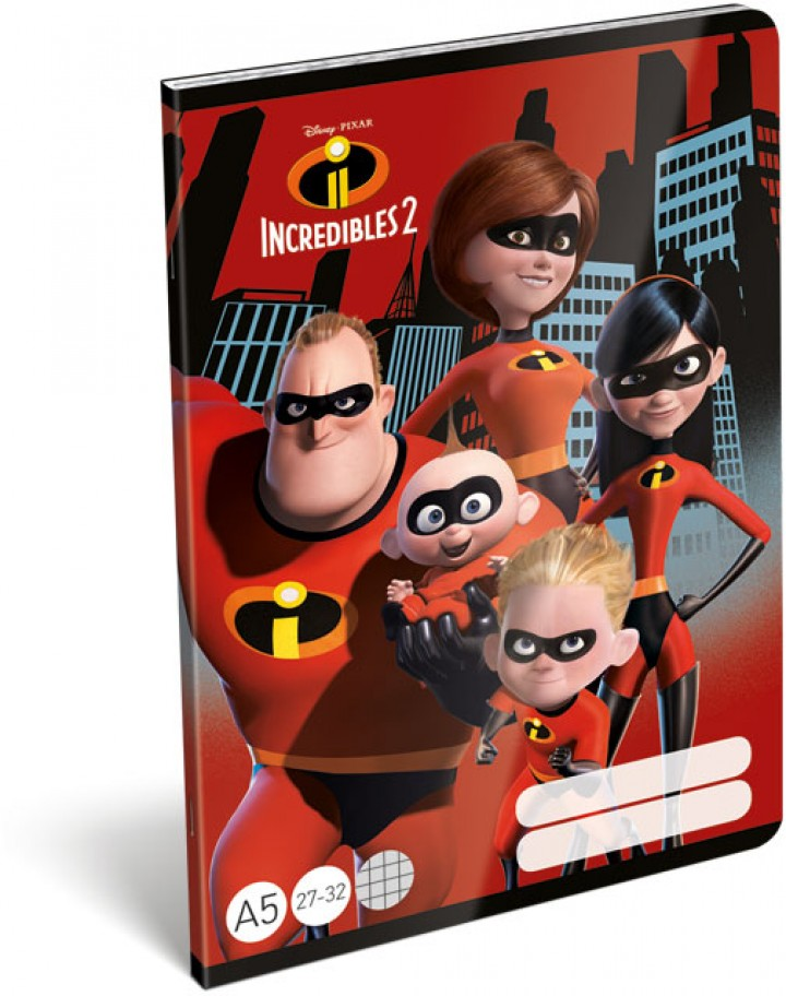 Füzet tűzött A/5 kockás, The Incredibles 2, Family