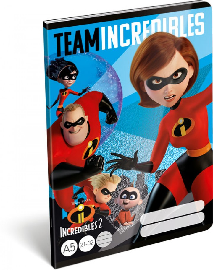 Füzet tűzött A/5 vonalas, The Incredibles 2, Team