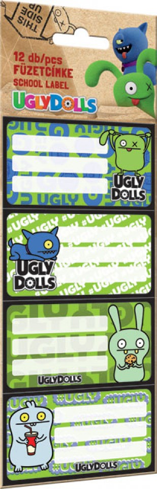 Füzetcímke 12 db-os, Ugly Dolls, Green
