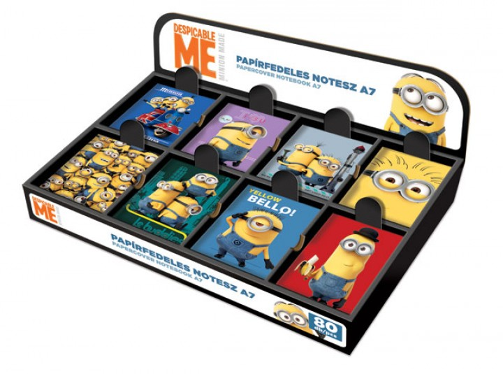 Papírfedeles notesz A7 display, Minions, DMF