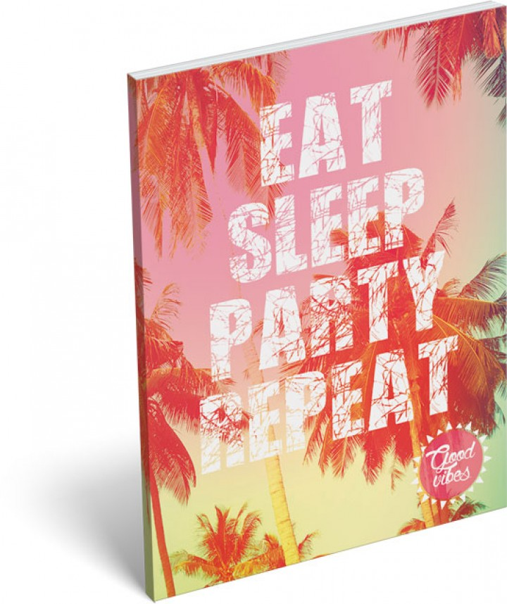 Notesz papírfedeles A/7, Good Vibes, Party